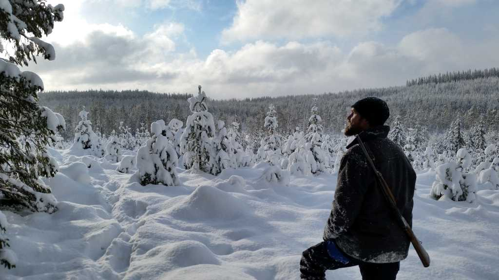 A man is looking out over the forest winter landscape