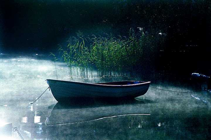 A photo of a small boat on a msity lake